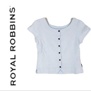 ROYAL ROBBINS baby blue button front top small